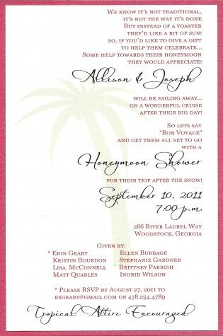 Honeymoon Shower Invite // Liking the wording! -this is a cool idea instead of a bridal shower :)