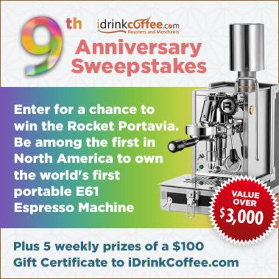 Wow! Enter the iDrinkCoffee.com Anniversary Sweepstakes for a chance to Win weekly $100 gift certificates for idrinkcoffee.com and a Rocket Espresso Portavia machine.   Just enter by 03/27/18! http://ifreesamples.com/win-100-gift-certificates-rocket-expresso-portavia-machines/