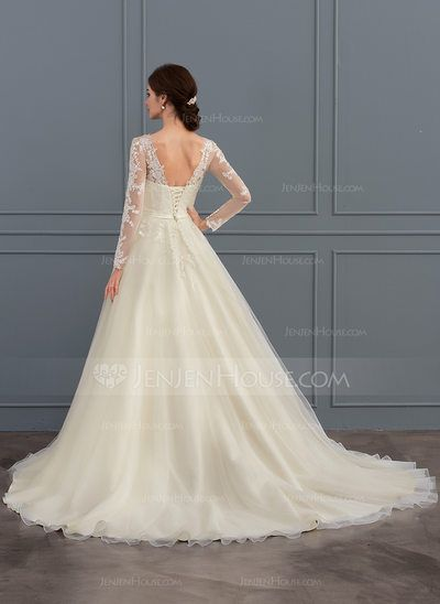 9f2b09d8f7a Ball-Gown Scoop Neck Court Train Tulle Lace Wedding Dress With Beading  Sequins (002127259) - JenJenHouse