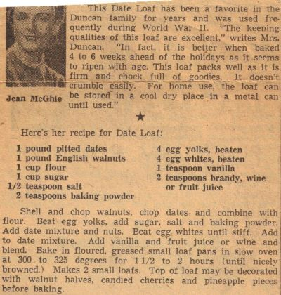 "This Date Loaf has been a favorite in the Duncan family for years and was used frequently during World War II. ""The keeping qualities of this loaf are excellent,"" writes Mrs. Duncan. ""In fact, it is better when baked 4 to 6 weeks ahead of the holidays as it seems to ripen with age. This loaf packs well as it is firm and chock full of goodies. It doesn't crumble easily. For home use, the loaf can be stored in a cool dry place in a metal can until used."""