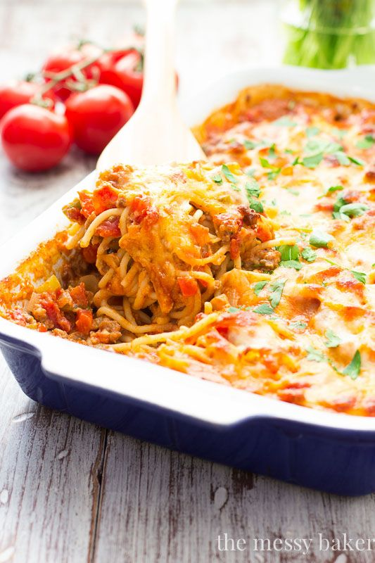 Southwestern Spaghetti Pie: Spagetti gets tossed in a rich, spicy sauce and baked until bubbly!