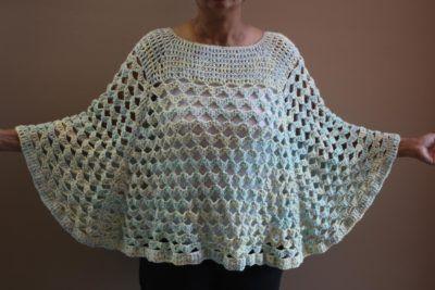 Scallop Design Crochet Poncho Pattern