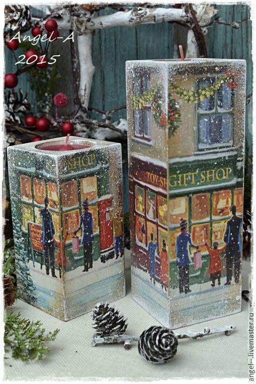 Купить Праздничная ярмарка Набор подсвечников - Новый Год, новый год 2016, новый год декупаж, рождество