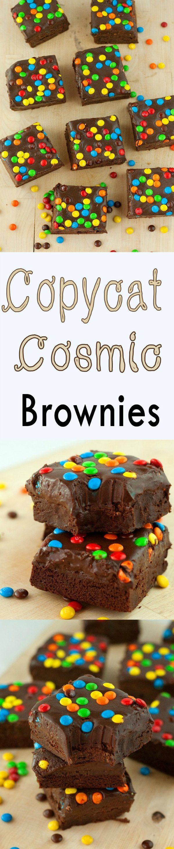 Copycat Cosmic Brownies: Thick, fudgy brownies smothered in silky smooth chocolate ganache, and topped with M&M candies. #recipe