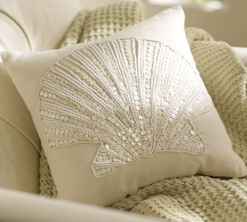 Beautiful Clamshell Embellished Pillow