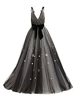 Monique Lhuillier V Neck Star Belted Ball Gown