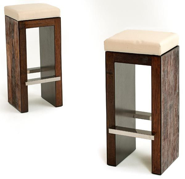 Urban Rustic Modern Bar Stool from Woodland Creek Furniture  Made to desired custom colours/upholstery available $445 (fabric seat) $395 (wood seat) www.woodlandcreekfurniture.com