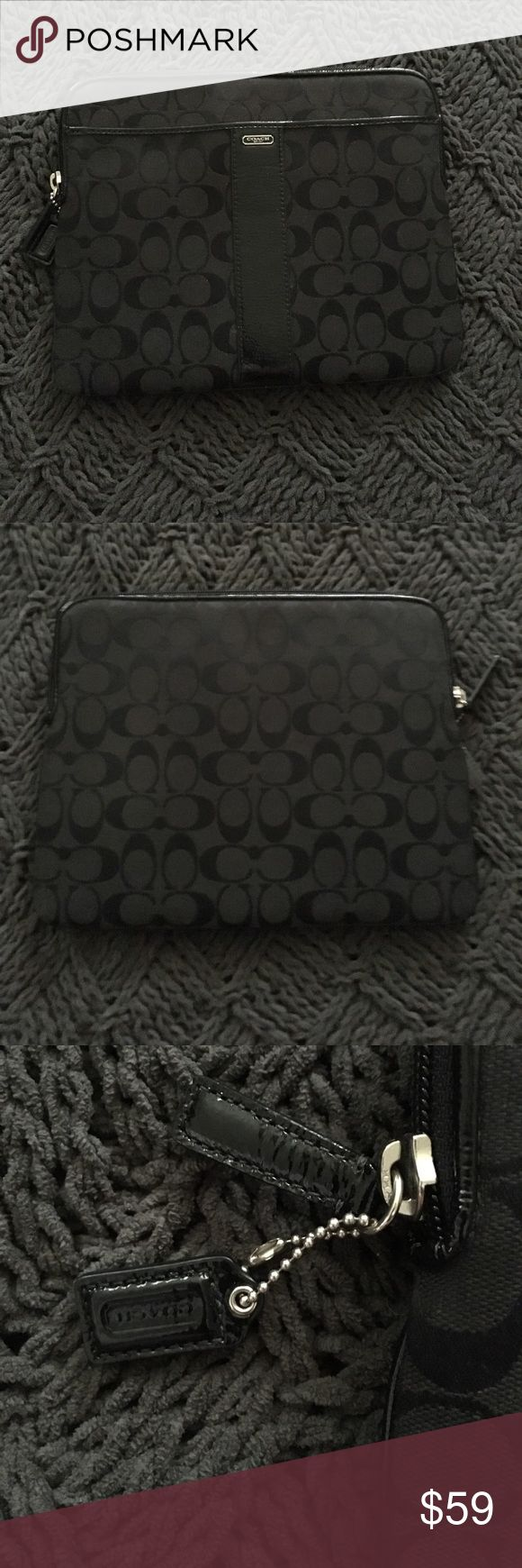 Coach tablet case! Black Coach tablet case with pink inside. Coach Accessories Tablet Cases
