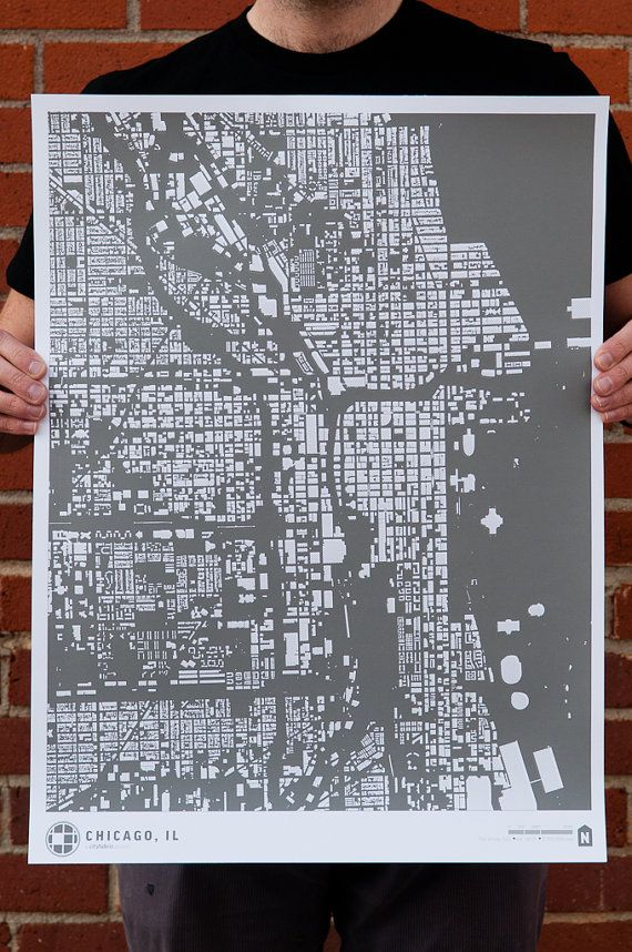 Chicago Map With Neighborhood Names%0A CityFabric Chicago Map Print on Etsy            Show your pride in the Windy