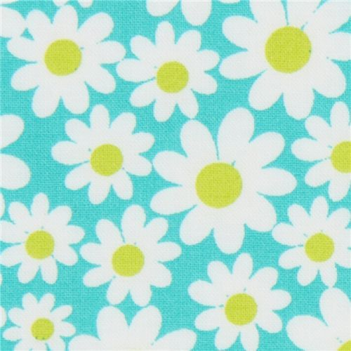 turquoise Michael Miller fabric Petal Flower daisy  cute turquoise fabric with many white daisies from the USA