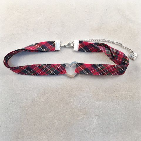 Red Tartan Heart Choker - Deer Designs