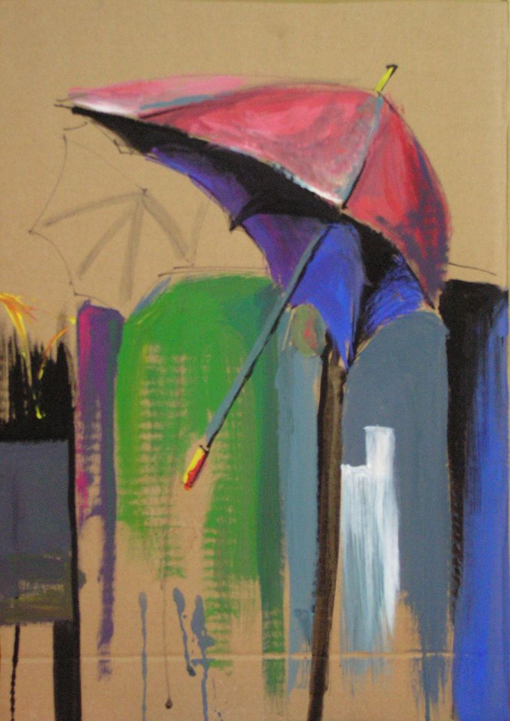 umbrellas, rain, acrylic on cardboard,