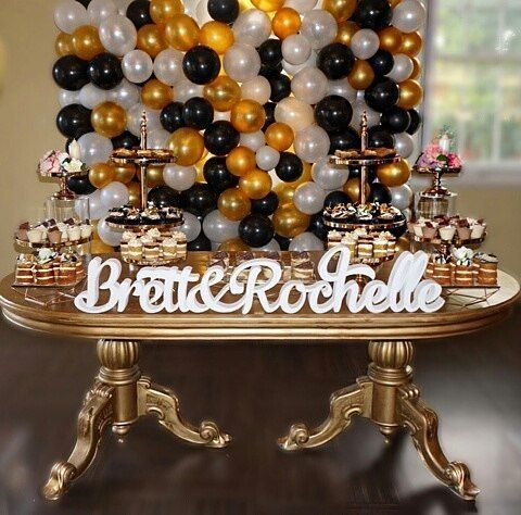 Rochelle&Brett's Surprise🎉30th Birthday Party #BlackGold&WhiteTheme  Shout out to our vendors: ♢@prop.my.party - Elegant Gold Table & Gold Stands ♢ @balloons_by_rana - Black,Gold & White Balloon Wall ♢ @foamtasticpartydecor - Rochelle&Brett's Foam Name ♢ @dessertinc_ - Dessert Cups ♢ @bespokedose - Cupcakes & Naked Cakes ♢ @teelishbrownies - Brownies ♢ @lolesensation - Styling