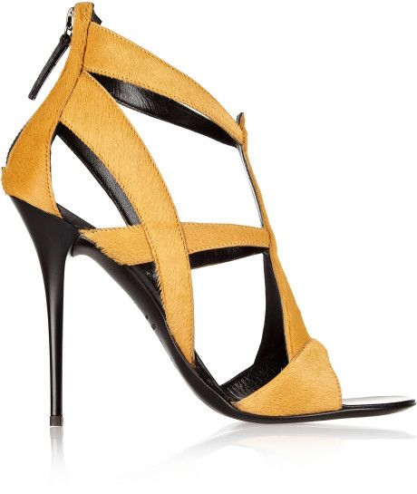 Giuseppe Zanotti sandals 2014 | Giuseppe Zanotti Cutout Calf Hair Sandals in Yellow (Mustard) - Lyst