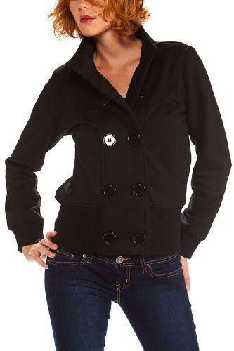 Women's double breasted solid military style jacket with pockets High Style. $25.00