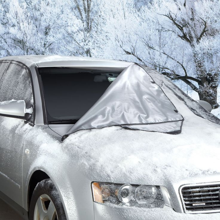 The Quick Removal Windshield Snow Tarp - This is the car windshield cover that lets the driver remove built-up snow and ice with a quick shake. The cover eliminates the need to scrape the front windshield after a winter storm, and also saves time and gas wasted running the engine while waiting for the defroster to warm up.