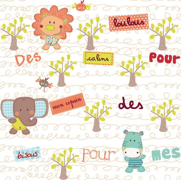 L de papier peint enfant jungle par b reng re design papiers peints enfa - Papier peint patchwork ...