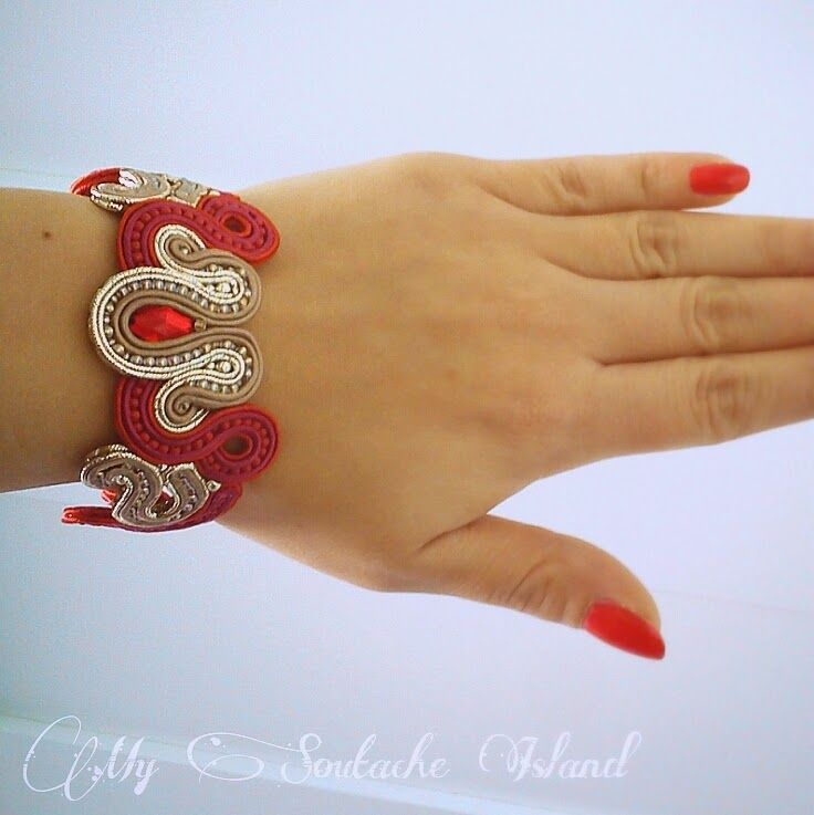 Taupe, gold, red soutache bracelet
