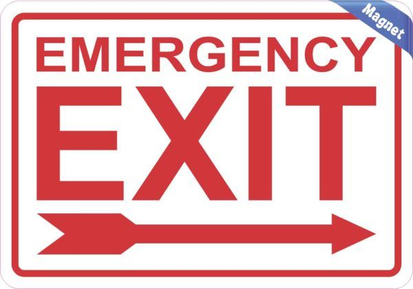 Right Arrow Emergency Exit Magnet