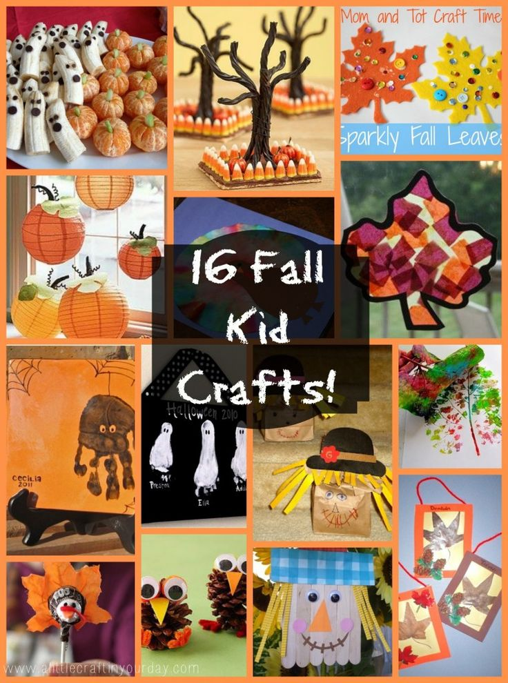 16 fall/Halloween crafts for kids. I love the footprint ghosts and handprint spiders!