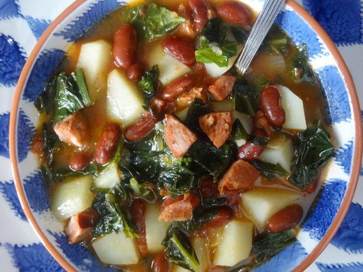 kale soup/ Sopa de Couve  ~ Sub. 2 cups of kidney beans instead of a can! ~ K