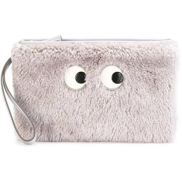 Anya Hindmarch cartoon eyes clutch ($488) ❤ liked on Polyvore featuring bags, handbags, clutches, grey, cartoon purse, comic handbag, anya hindmarch purse, pink purse and comic purse