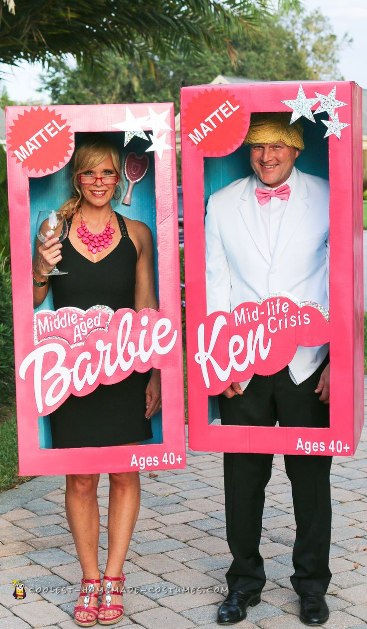 "Middle-Aged Barbie and Mid-Life Crisis Ken Couple -Costume... VT: I can be quarter life crisis and he can be mid-life crisis or ""daft as a daisy""! Super cute!"