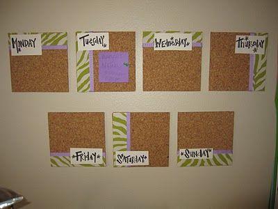 Embellished cork tiles make a bright, fun wall calendar.