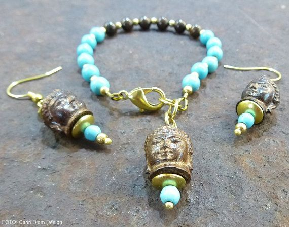 Handcarved driftwood Buddha head turquoise bead by CBlomsDesign