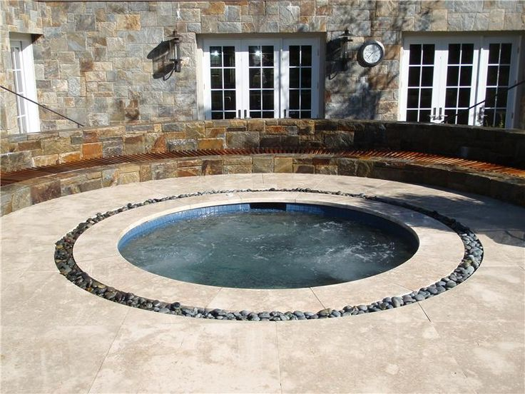 Rectangle Pool w/ Detached Round Spa Aqua-Pro Swimming Pool Gallery - check out our pools, waterfalls, spas and freeform stone pools. Aqua-Pro, Inc. Swimming Pools Ossining, NY (914) 923-9500