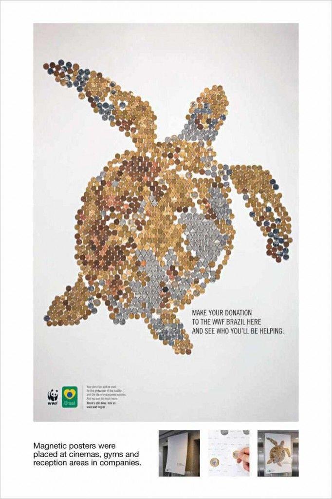 「寄付した効果」が「寄付した人の手」であらわになる磁気ポスター | AdGang ポスターに描かれている指定箇所に通貨(コイン)をもっていくと、ポスターに組み込まれた磁石によりコインがくっつき、すべての箇所にコインを貼り付けると海亀の姿が浮かび上がります。