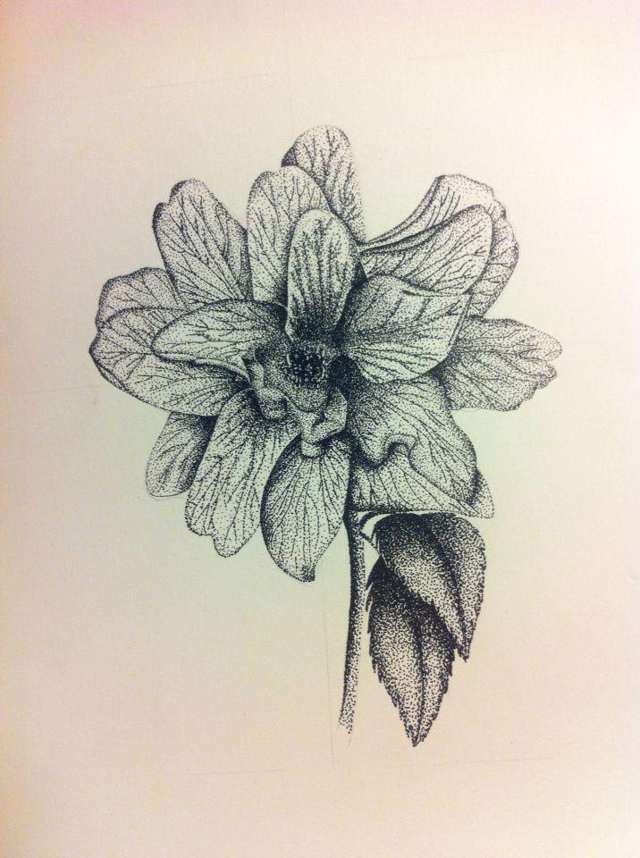 Disegno fiore bianco e nero tecnica puntinismo