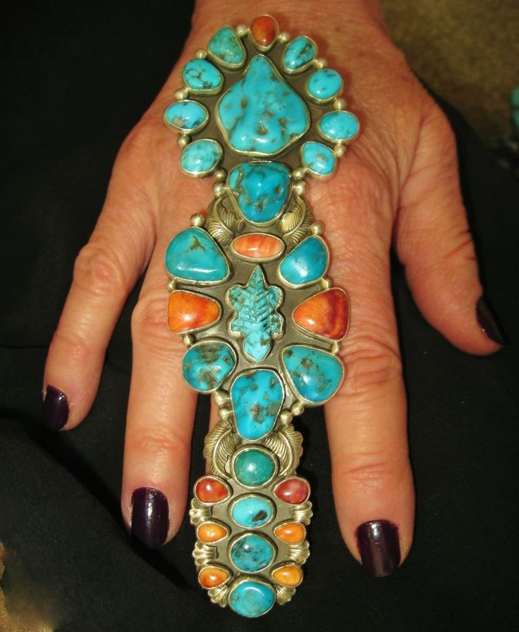 STERLING SILVER, TURQUOISE, SPINY OYSTER, CORAL. The work in this ring is amazing. All these little turquoise, or free form turquoise, the tiny tiny spiny oyster and. the lizard with its weird shape.They are all bezeled perfectly. | eBay!