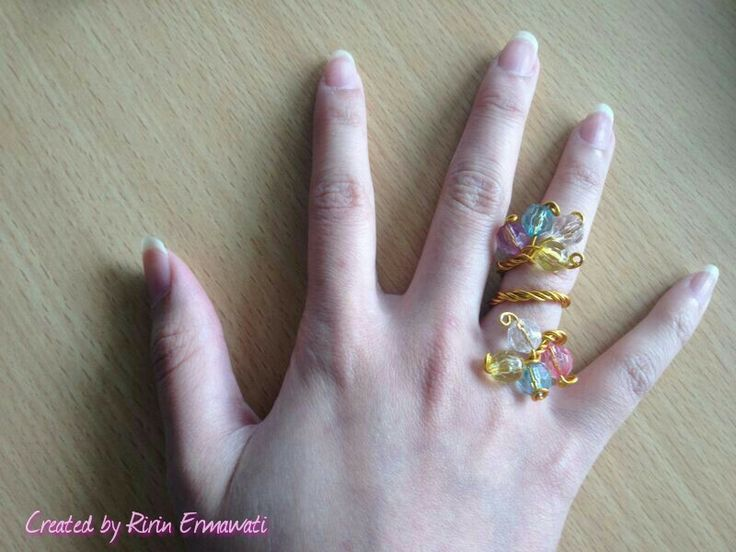 Colourfull and gold wire ring