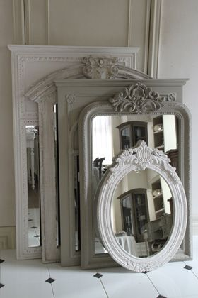 Find an old frame, paint it and take it to your neighborhood glass shop to have new mirror installed. www.conwayglass.com
