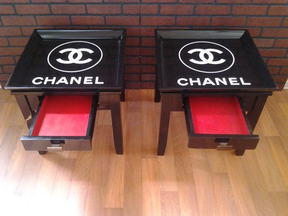 CHANEL side table, lamp table with drawer. black with white logo. on Etsy, $280.00
