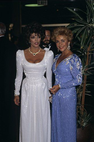 "Elizabeth Taylor and Joan Collins at the premiere of ""Comfort and Joy""  Two of my faves!!"