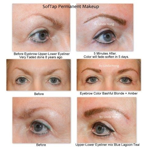 Before and After SofTap permanent makeup eyebrows and eyeliner ...