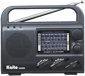 Kaito KA009 4 Way Powerd Emergency Radio Black by Kaito. $39.99. The unit is a versatile emergency radio to keep in the trunk or take on your next camping trip. Although its performance on any given band is modest, it does receive an amazing number of bands: AM, FM, TV Audio channels 2-13, Weather 162.55-164.4 MHz, VHF high band 145-174 MHz and four shortwave bands (6-9, 9-12, 12-15 and 15-18 MHz).  The versatile unit can be powered four ways: From 3 AA cells (...