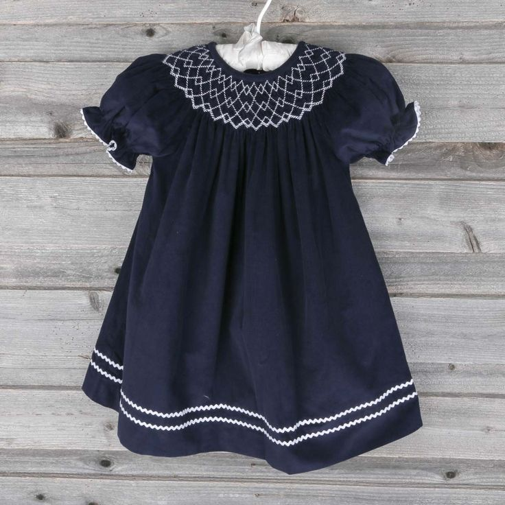 Smocked White Bishop Navy Corduroy Smocked Auctions