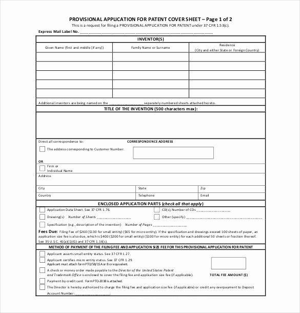 Provisional Patent Application Form Beautiful Patent Application Template 12 Free Word Pdf Provisional Patent Application Application Form Patent Application