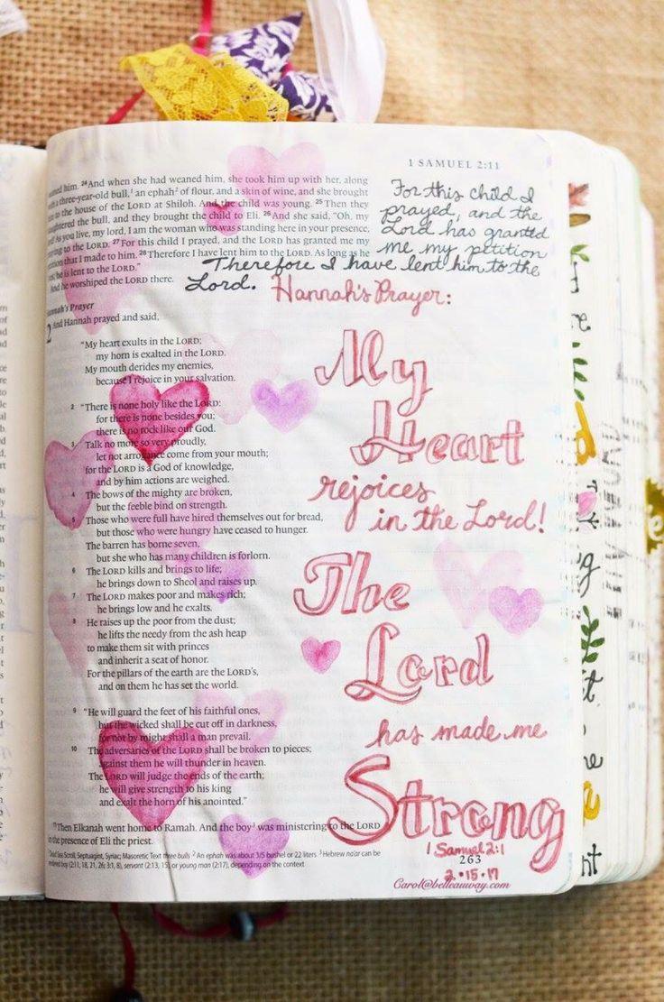 1 Samuel 2:1, February 15, 2017, carol@belleauway.com, watercolor, Faber Castell Pitt artist brush pen, Illustrated Faith pen, bible art journaling, bible journaling, illustrated faith