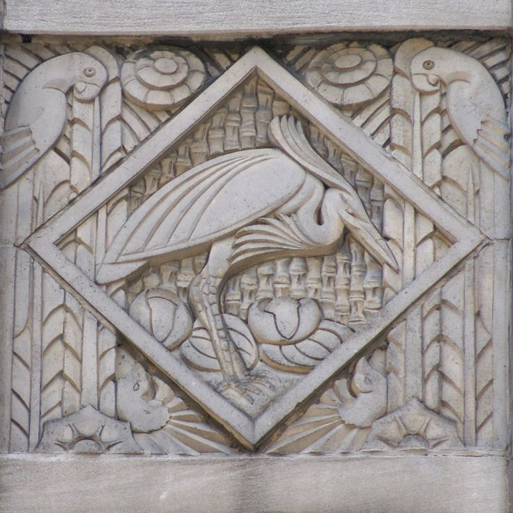 Art deco relief panel with heron and parrots on the wacker tower building o - Deco relief catalogue ...
