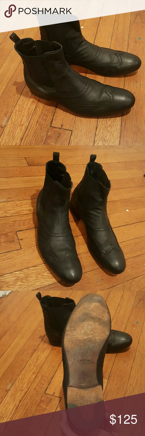 HUGO BOSS ORANGE BOOTS MENS 43 BLACK HUGO BOSS BLACK WINGTIP CHEALSEA BOOTIES DOUBLE GORE BOOTS BEAUTIFUL GREAT QUALITY LEATHER SOLES EXCELLENT CONDITION Hugo Boss Shoes Oxfords & Derbys