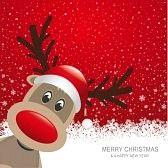 kerst rendier : rendier rode hoed sneeuw sneeuwvlok rode achtergrond