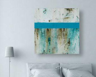 Large Teal Wall Art  Modern Blue Original Abstract von CMFA auf Etsy