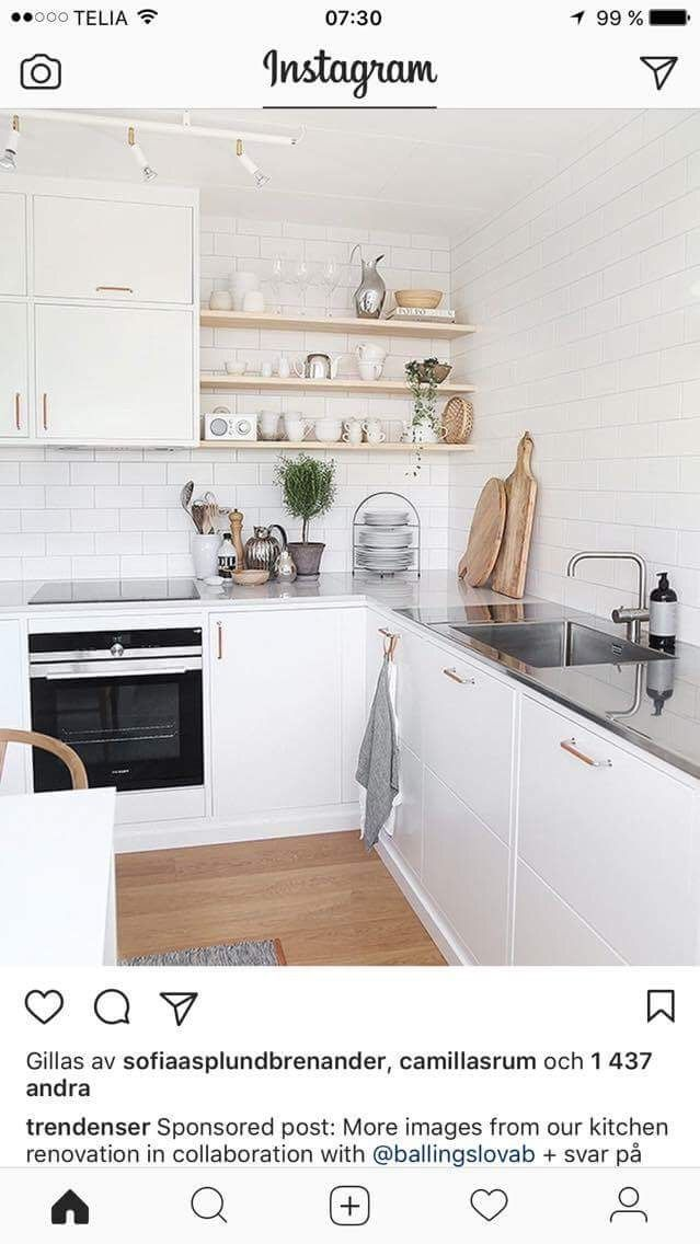 Kök, läderhandtag, vitt