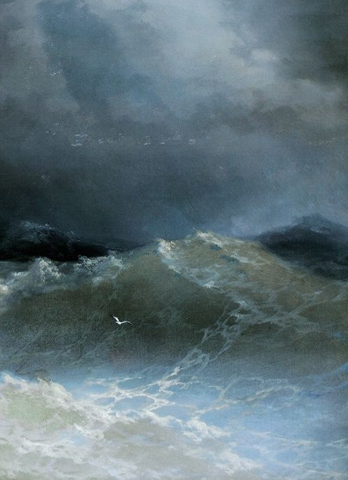 """I waited, as if the sea could make my decision for me.""… Sylvia Plath Painting by Ivan Aivazovsky, Waves (detail), 1849."