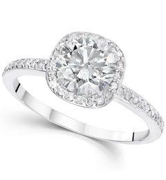 1.25 cttw Diamond Cushion Halo Engagement Ring 14K White Gold