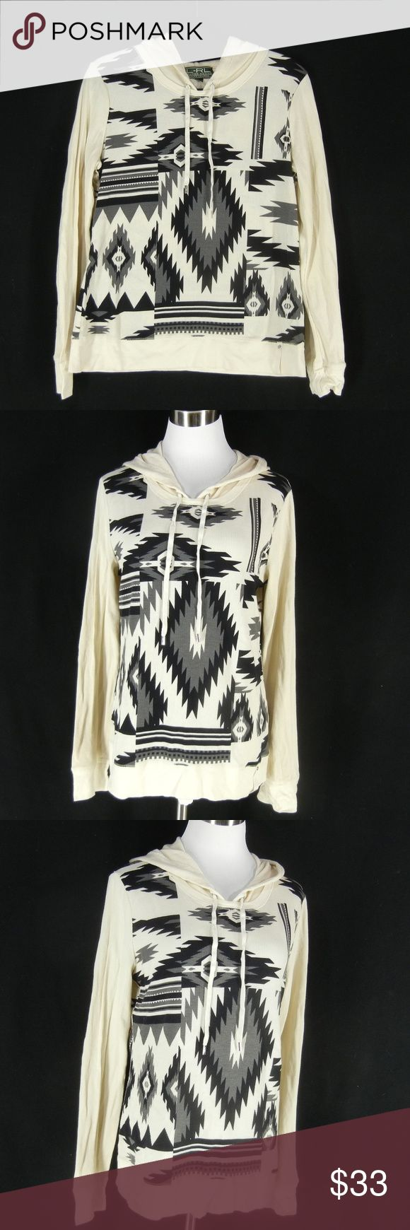"RALPH LAUREN Aztec Southwest Print Shirt Top XL Ho RALPH LAUREN 100% cotton thermal waffle knit hooded top.  Dramatic southwestern print, attached hood with drawstring, long sleeves, no pockets.  Excellent condition with no noted flaws.  Machine wash.  Tagged Size XL, slim fit, please check measurements to determine fit.  40"" chest, 36"" waist, 40"" hips, 25"" long. Ralph Lauren Tops"